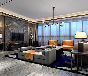 260㎡大平层现代混搭风格客厅效果图