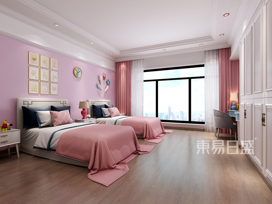 厚街海逸豪庭别墅现代女孩房装修效果图