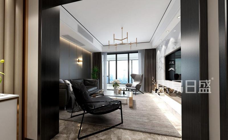 现代轻奢客厅关装修效果图-星光御墅现代轻奢风格平层140平