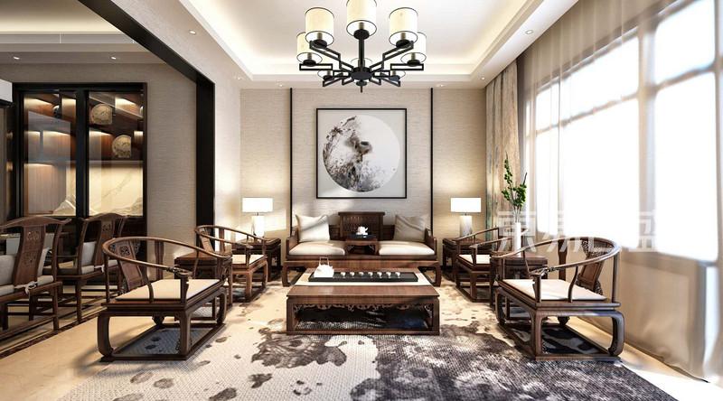 > 润景湾极简中式风格一层客厅装修效果图   正荣润景湾-极简中式禅意