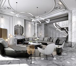 现代法式装修风格客厅效果图