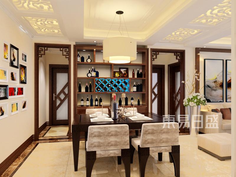 新中式餐厅酒柜装修效果图效果图_装修效果图大全2018