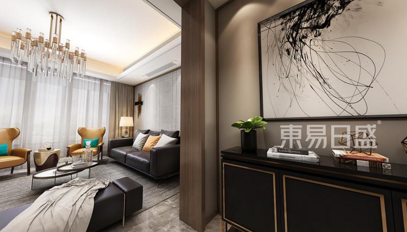 现代轻奢客厅玄关装修效果图-星光御墅现代轻奢平层160平