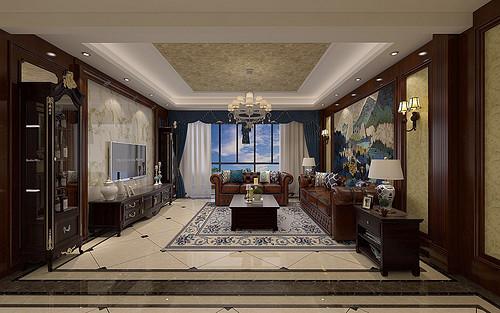 天水开元国际小区-120平米-美式古典风格装修效果图