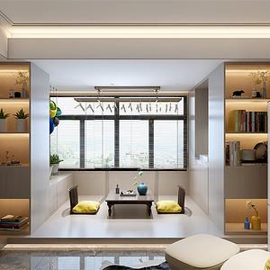 龙城壹号三居室现代简约客厅阳台装修效果图