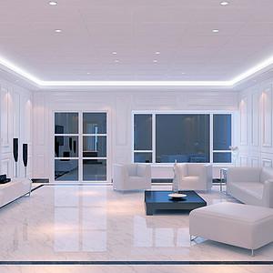 长塘花园跃层极简欧客厅装修效果图
