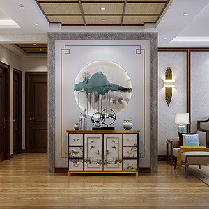 新中式风格-玄关-装修效果图