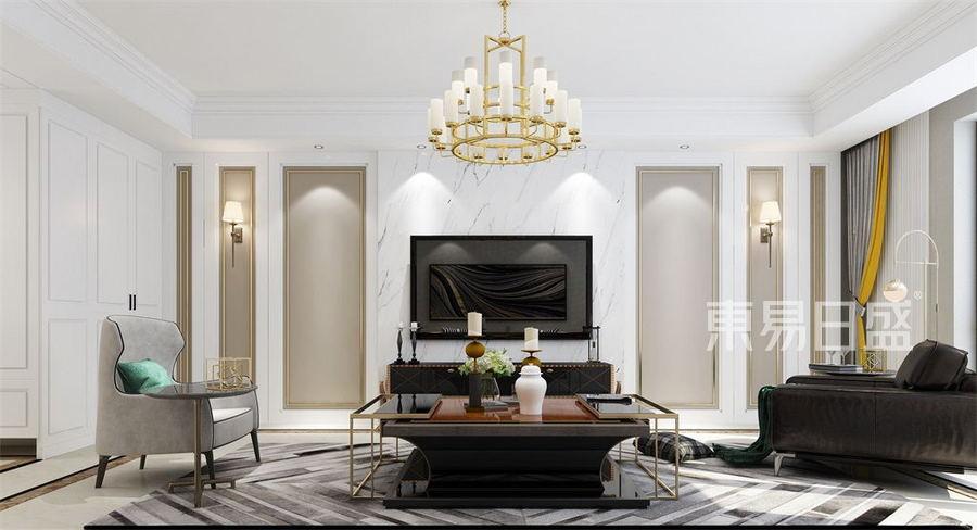 三居室-现代轻奢-客厅电视背景墙-效果图