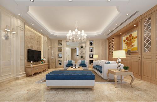 仁山智水400㎡-简欧风格案例--别墅高端装修效果图展示