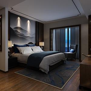 主卧空间设计,力求表现古典庄重之美。