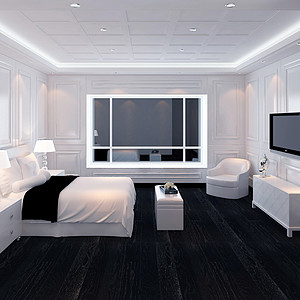 长塘花园跃层极简欧卧室装修效果图