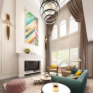 龙湖曲江畔 简美风格装修效果图 三室两厅 225㎡