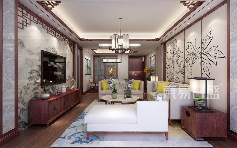 新中式风格客厅效果图_装修效果图大全2018图片