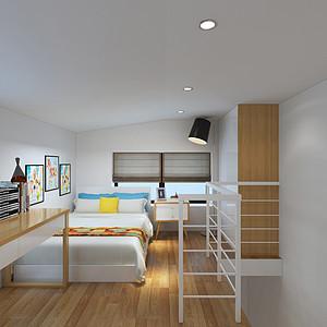 通白阁楼使整个空间显得更加洁净明亮。