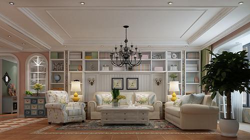 奥北公元157平四室二厅美式风格装修案例