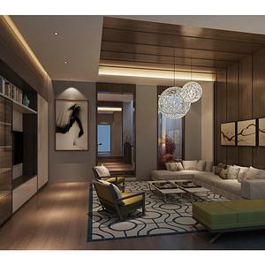 华高新苑-新中式-350平米-客厅