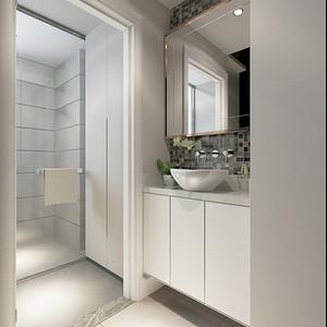 在高级灰墙面搭配一席干净利落的镜柜