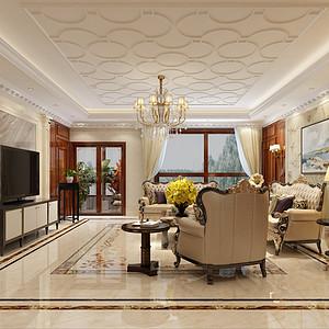 欧式古典风格-客厅-装修效果图