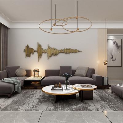 首开国风琅樾三居现代简约沙发背景墙装修效果图