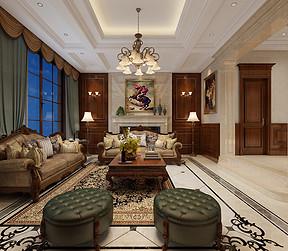 大连现代美式装修-客厅