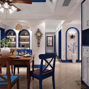 入门处布置鞋柜,设计储物功能同时分隔客厅餐厅区域