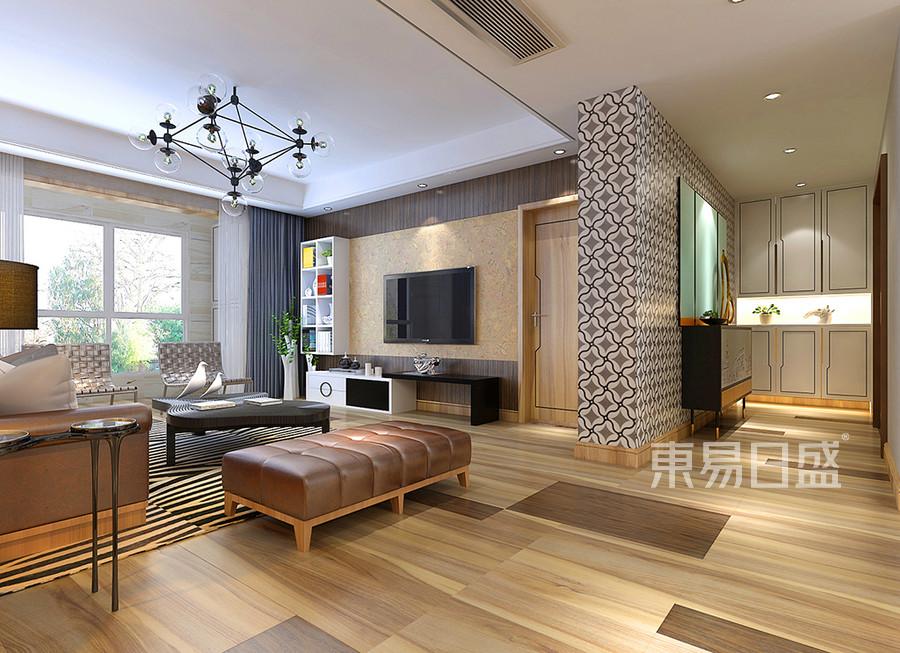客厅角度入门处用黑白灰的拼花瓷砖搭配图片