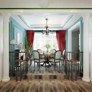 餐厅硬装和软装的配色十分协调自然