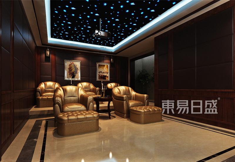 地下影音室_新中式 - 渤海度假村新中式地下影音室装修效果图