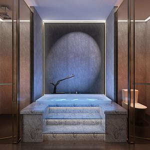 新中式-卫生间-别墅装修效果图