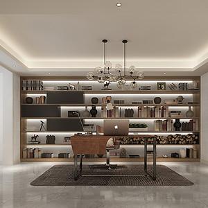 书房与茶室相同,原色的书桌与黑白调