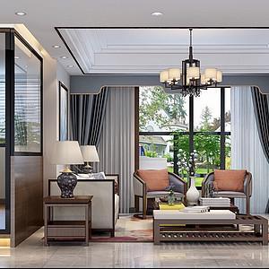 东城鼎峰尚境装修案例-138㎡新中式四房二厅装修效果图