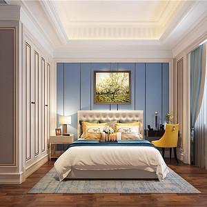 法式风格次卧:使用米黄色与蓝色搭配