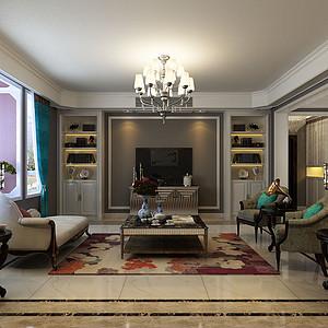 都市新奢华风格-客厅-装修效果图