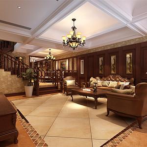 米兰世纪花园美式风格客厅装修效果图