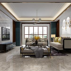 保定朝阳首府120平三室二厅新中式风格装修案例