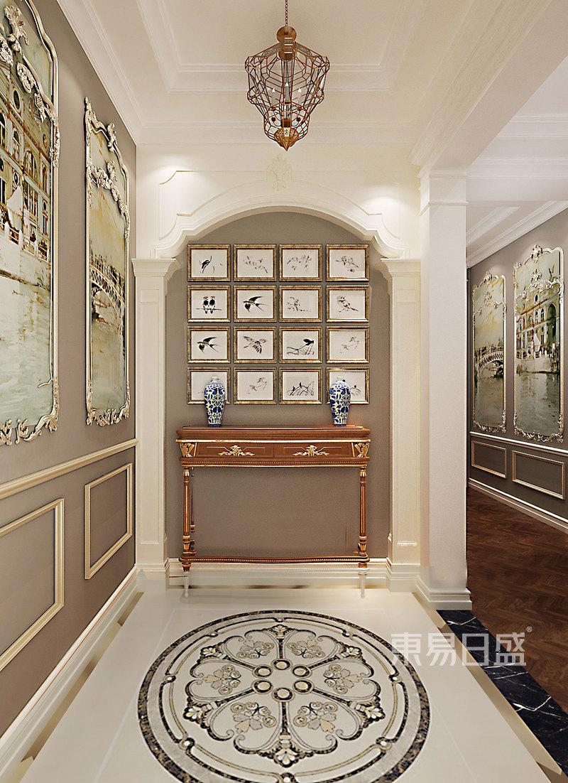 门厅:入户门厅墙面罗马柱以及墙面艺术效果图_装修图