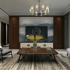 保利拉菲150㎡三室二厅新中式风格装修案例