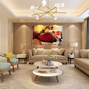 碧桂园现代简约风格客厅装修案例效果图