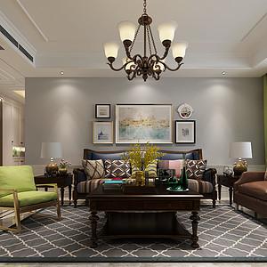 德贤公馆-三室二厅-美式风格装修案例