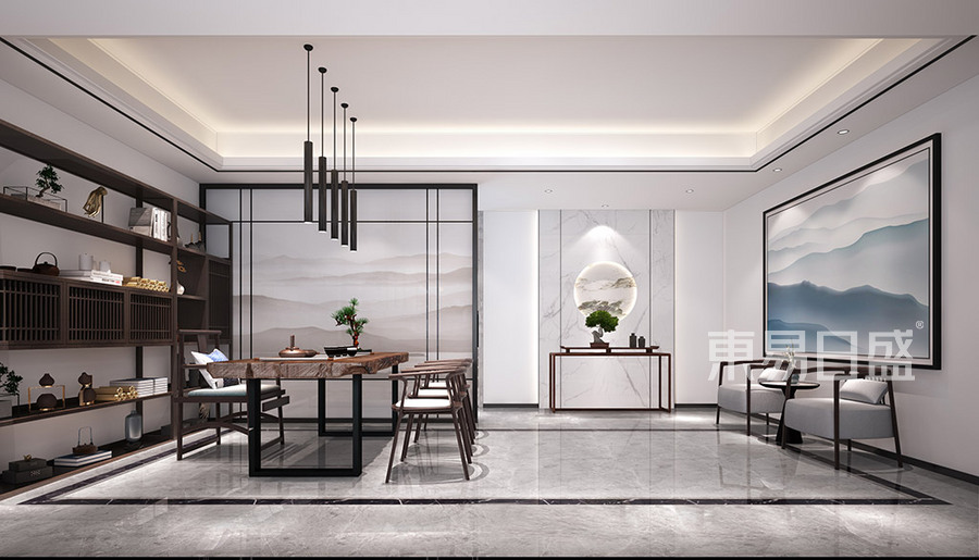 厚街豐泰觀山碧水別墅-現代新中式茶室-裝修效果圖