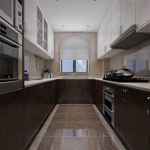 厨房咖色和白色的搭配给人感觉