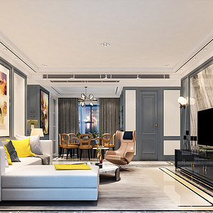 黄江湖山大境装修案例-145㎡现代轻奢四房二厅装修效果图