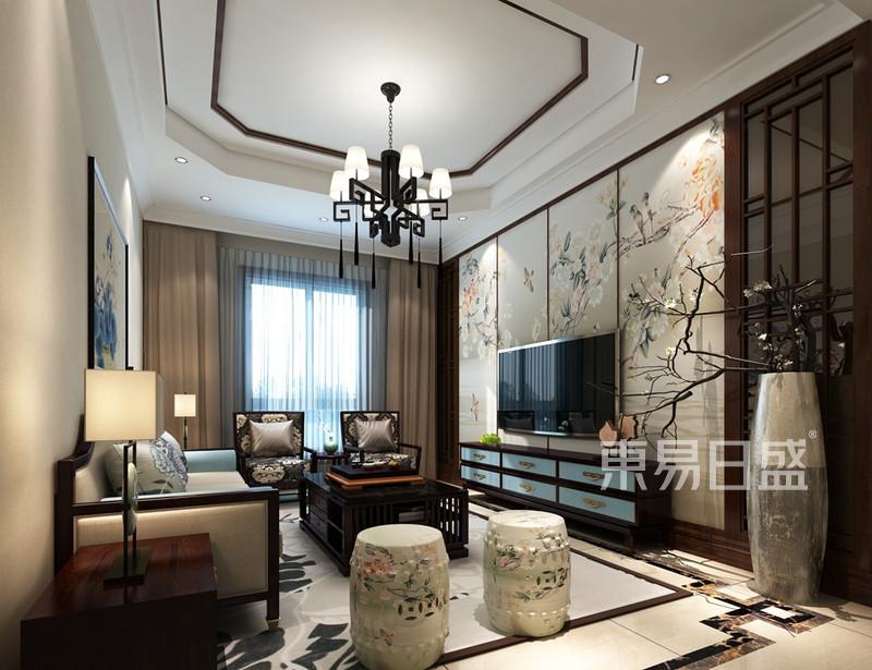 新中式电视背景墙效果图,别墅-新中式-实景图