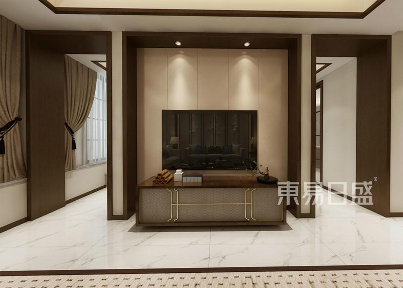 新中式 - 电视机背景墙,简洁硬包,干净线条