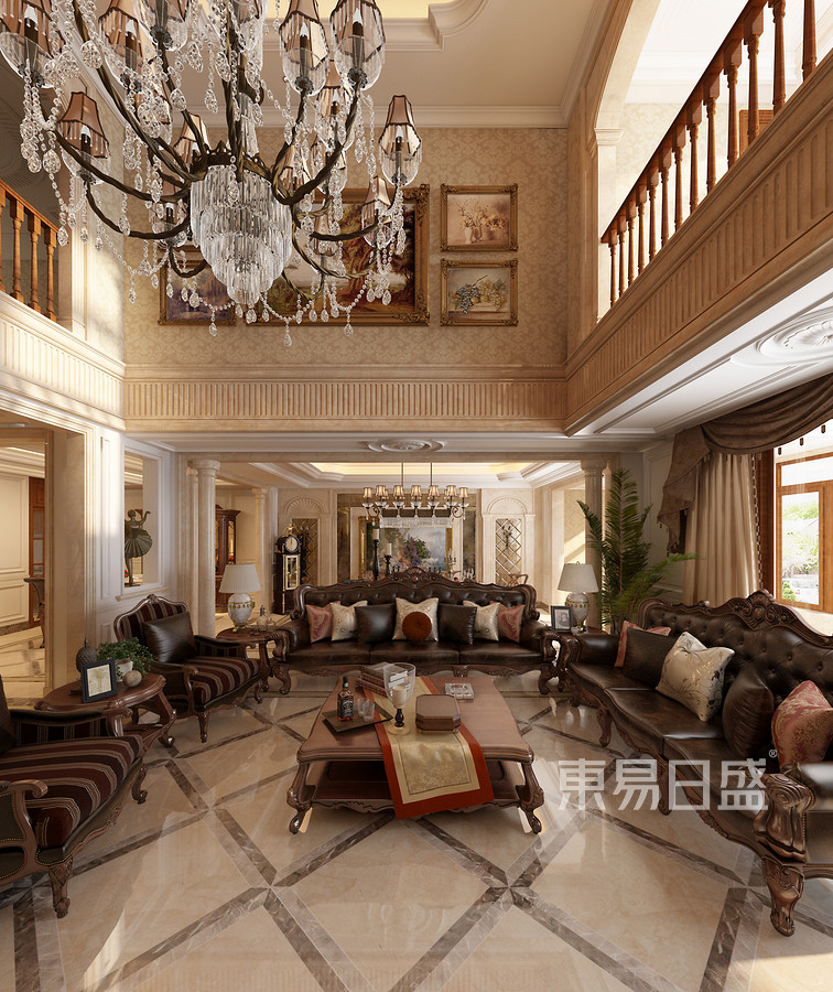 松山湖锦绣山河观园新古典客厅装修效果图