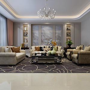 荣盛华府220平五室二厅现代港式风格装修案例