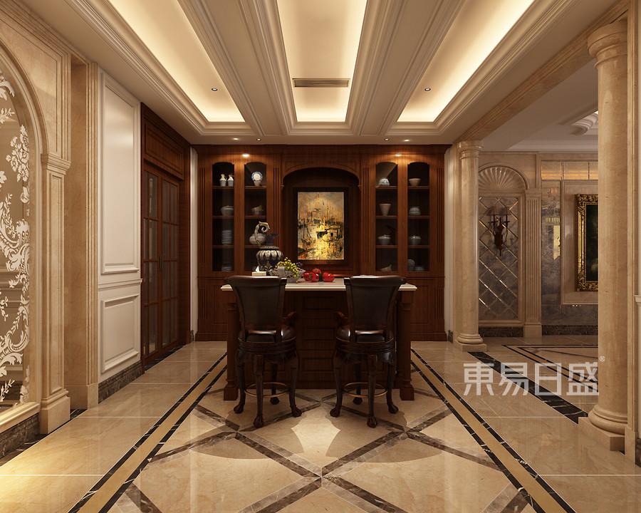 松山湖锦绣山河观园新古典餐厅装修效果图