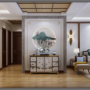 中式风格-玄关-装修效果图