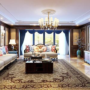 昆明颐明园530㎡双拼别墅古典美式装修风格效果图