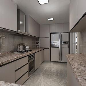 三居室-轻奢风格-厨房-效果图